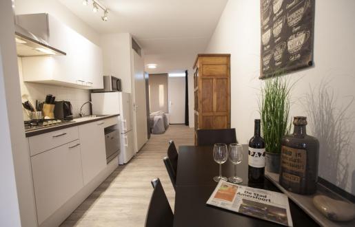 complete kitchen long stay open floor plan near station Amersfoort hotel de tabaksplant